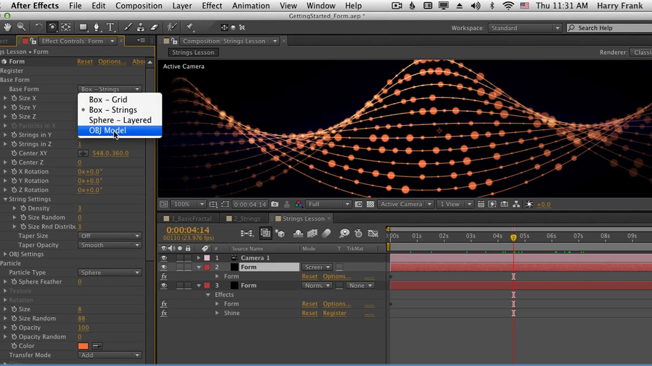 Red Giant 02 Getting Started With Trapcode Form Strings