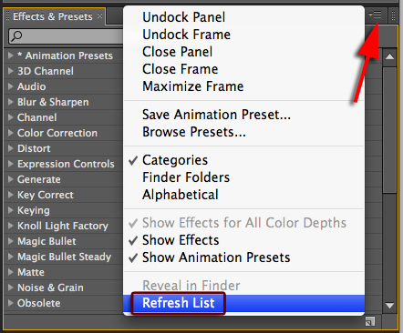 This Will Force After Effects To Reload The Ffx In All Locations And Should Make Animation Presets Appear Their Pop Up Menu