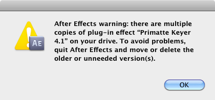 After Effects warning: there are multiple copies of plug-in effect