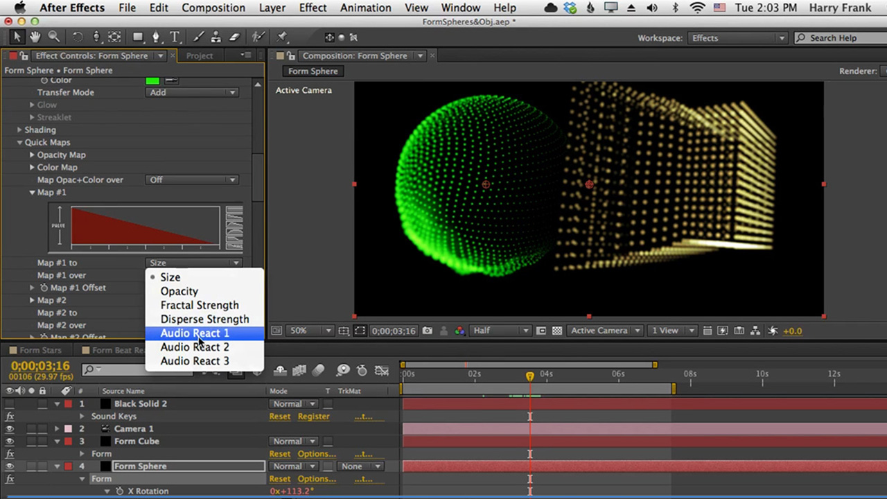 03 - Getting Started with Trapcode Form: Spheres, OBJs, and Audio React
