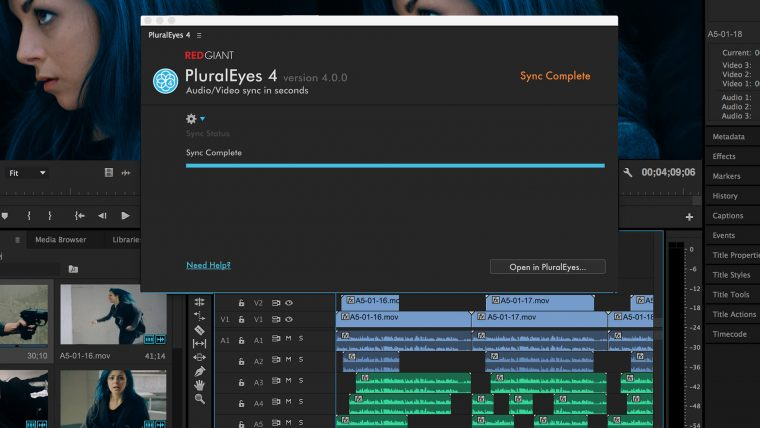 Shooter PluralEyes - Premiere Pro Panel