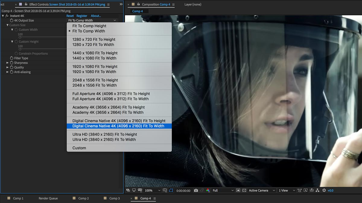 Instant 4K - Footage Upscaling Presets