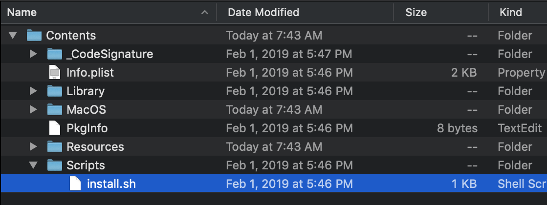 Red Giant install script highlighted in a Finder window