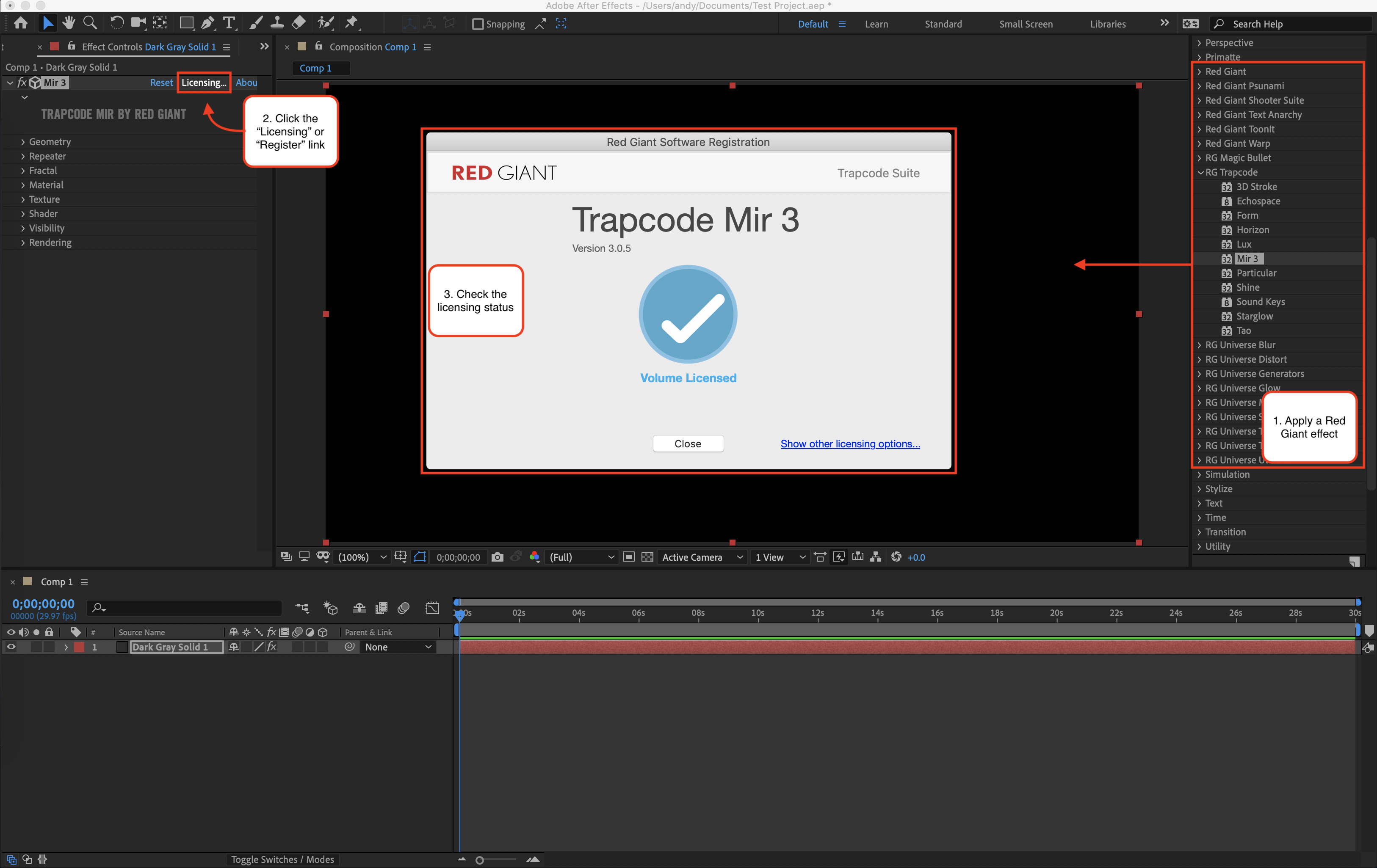 How to check Red Giant licensing status in Adobe After Effects